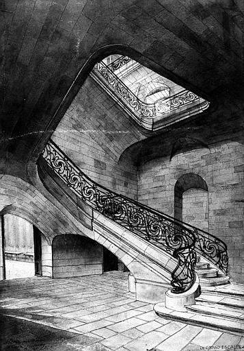 Dessin en perspective du grand escalier (aquarelle)