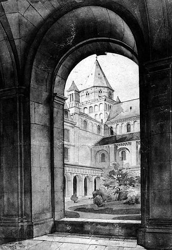 Dessin en perspective du cloître avec vue sur le clocher de l'église (aquarelle)