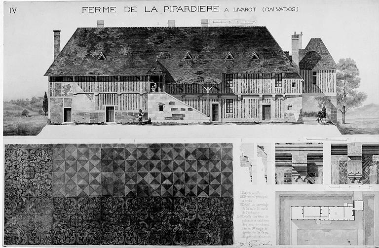 Plan, élévation de la façade principale, détails du carrelage, des têtes de poteau et sablières (dessin aquarellé)