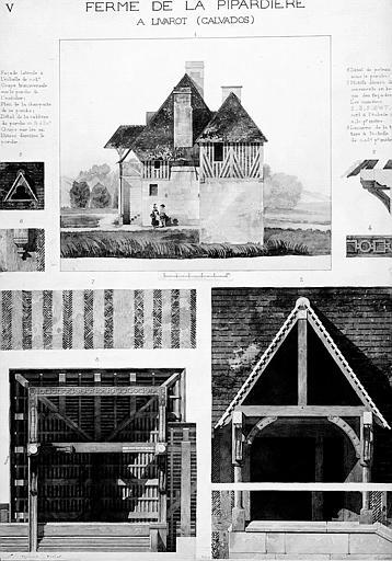 Elévation de façade latérale, coupe transversale sur le porche, plan de la charpente et détails architecturaux (dessin aquarellé)