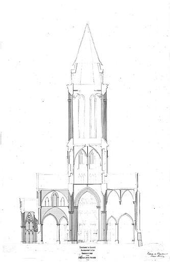 Coupe dans l'axe du transept (plume et lavis)