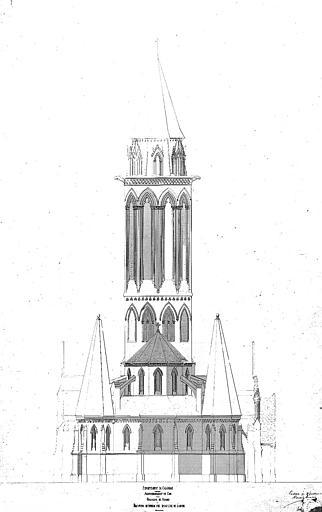 Elévation extérieure vue dans l'axe de l'abside (plume)