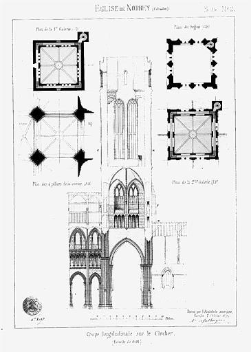 Clocher : Coupe longitudinale et plans des différents niveaux, feuille n° 2 (plume et encre)
