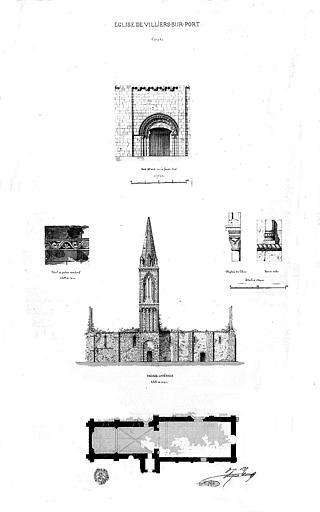Plan, élévation de la façade latérale, porte et détails architecturaux (plume et aquarelle)