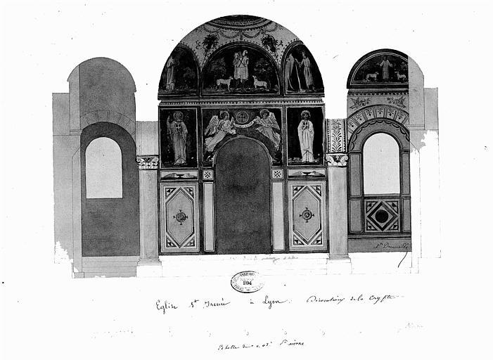 Relevé à l'aquarelle des peintures murales de la crypte : Le Bon Pasteur