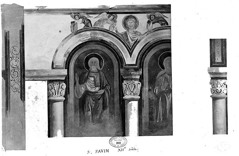 Relevé à l'aquarelle des peintures murales : Détails