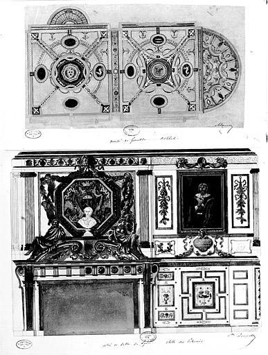 Relevé à l'aquarelle des peintures du plafond et des murs de la salle des Echevins (Hôtel de Ville de Lyon), et Relevé à l'aquarelle des peintures du plafond et des murs du vestibule (Musée de Grenoble)