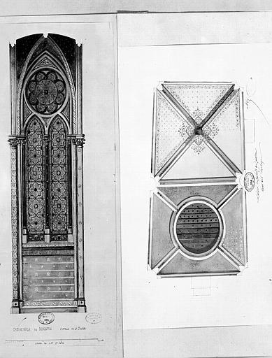 Relevé à l'aquarelle des peintures murales de la chapelle de la Vierge (Cathédrale), et Relevé à l'aquarelle des peintures murales de la Chapelle-Tour-de-l'Horloge du palais de justice
