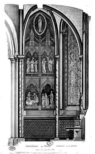 Relevé à l'aquarelle des peintures murales de la chapelle de la Vierge : Annonciation, Nativité, Présentation au Temple