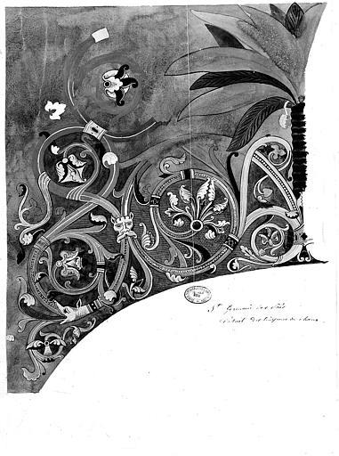 Relevé à l'aquarelle des peintures murales du choeur : Détails décoratifs des tympans