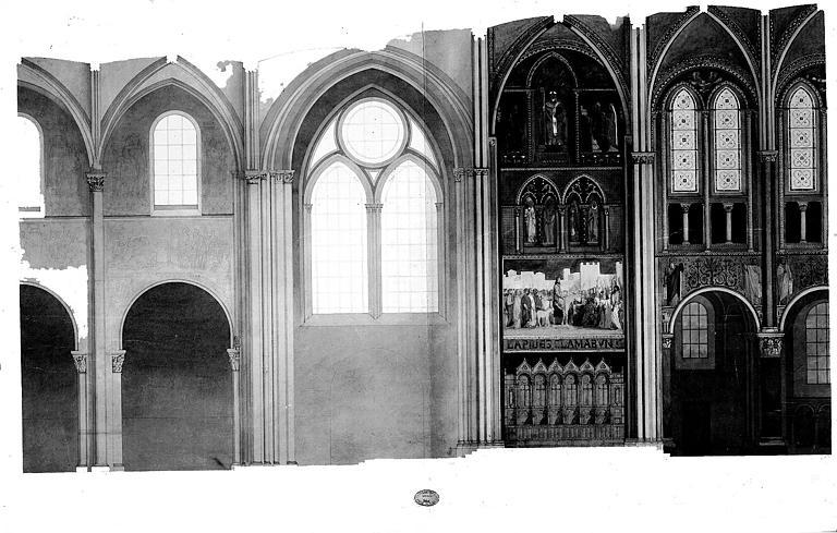 Elévation intérieure avec relevé (lavis et aquarelle) des peintures murales : Entrée du Christ à Jérusalem