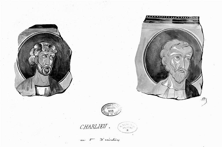 Relevé à la gouache de peintures murales : Détail de deux têtes de saints