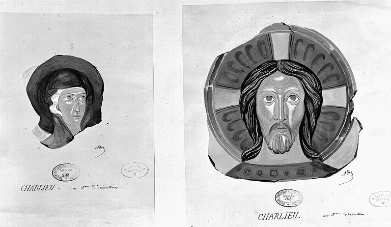 Relevé à la gouache de peintures murales : Détail des têtes de la Vierge et du Christ