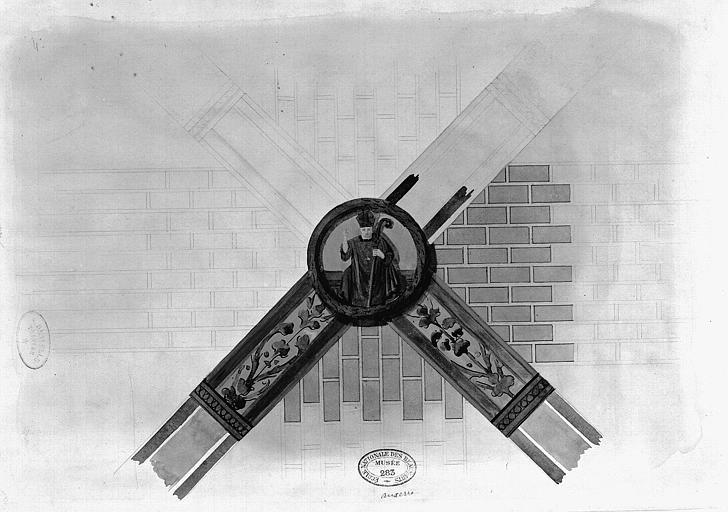 Relevé à l'aquarelle des peintures murales : Décoration d'une clé de voûte représentant un évêque