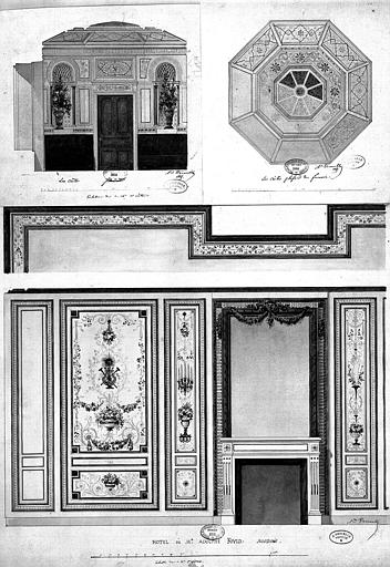 Relevés à l'aquarelle : Décoration des murs et du plafond du fumoir du château des Crêtes (1), décoration des murs du boudoir de l'hôtel Fould (2)