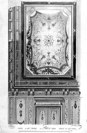 Relevé à l'aquarelle : Décoration du plafond, des portes et du mur