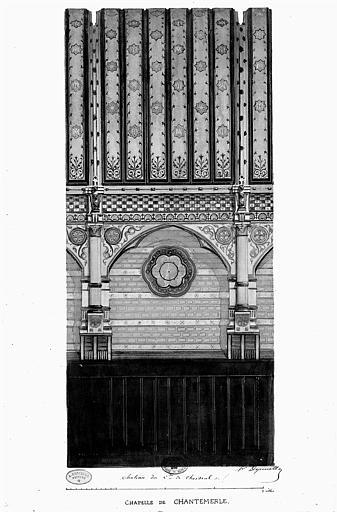 Relevé à l'aquarelle : Décoration d'une travée de la chapelle de Chantemerle