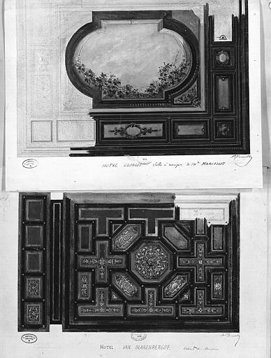 Relevés à l'aquarelle : Décoration de la salle à manger de M. Marcellot à l'hôtel Georges (1), décoration d'un cabinet à l'hôtel Van Blarenberghe (2)