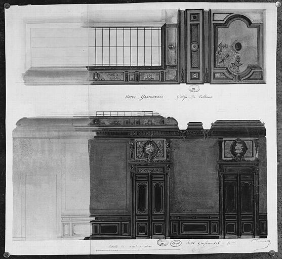 Relevé à l'aquarelle : Décoration du plafond, des murs et des portes de la galerie de tableaux