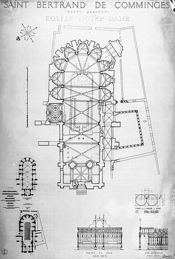 Plan général de l'église, élévations de la façade et vue latérale du Jubé