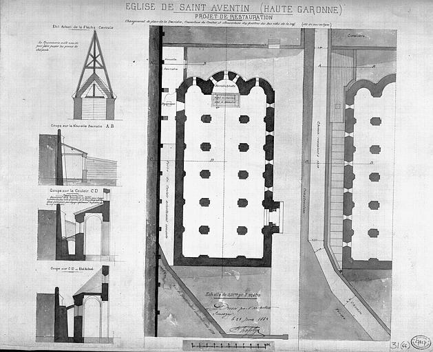 Projet de restauration : Plan général et coupes sur les bas-côtés et le clocher (état actuel)