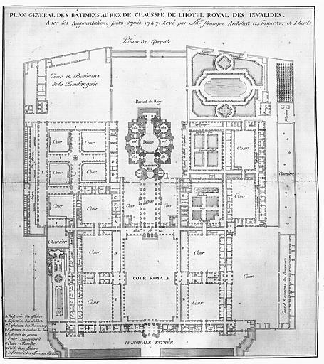 Gravure : Plan général des bâtiments au rez-de-chaussée avec les augmentations faites depuis 1747