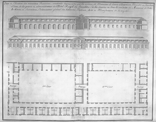 Gravure : Plan, coupe  et élévation des nouveaux bâtiments construits depuis 1750