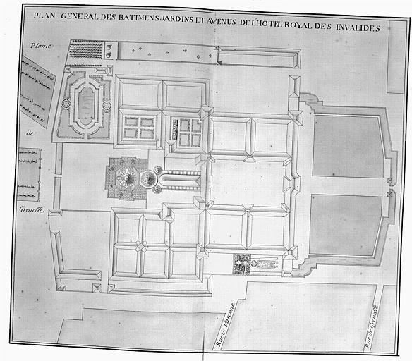 Gravure : Plan général des bâtiments, jardins et avenues