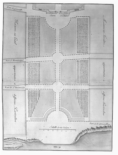 Gravure : Plan du nouveau quinconce exécuté depuis l'entrée de l'Hôtel en 1750