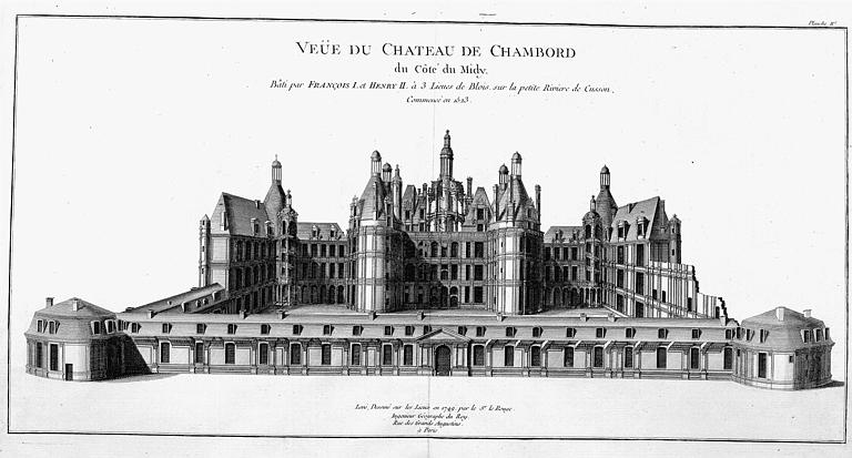 Gravure : Dessin en perspective du château côté sud