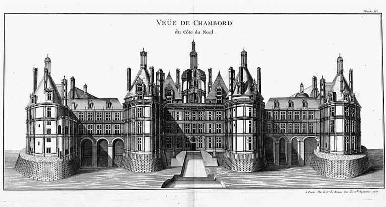 Gravure : Dessin en perspective du château côté nord