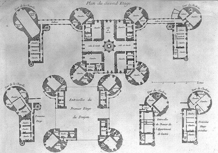 Gravure : Plan du second étage