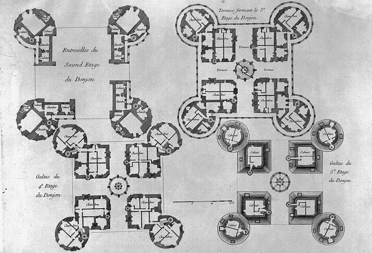Gravure : Plans des différents niveaux du donjon
