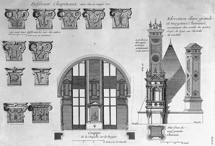 Gravure : Coupe de la chapelle sur la largeur, chapiteaux, élévation d'une grande et d'une moyenne cheminée