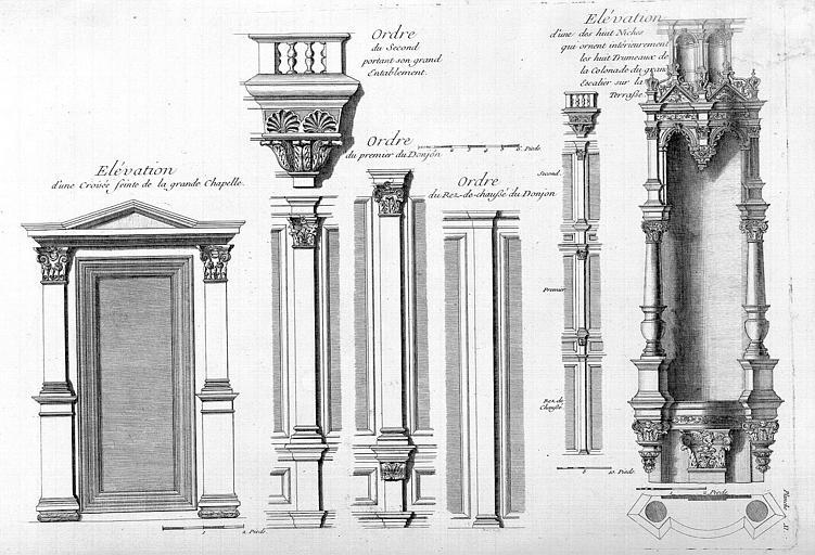 Gravure : Elévations d'une croisée de la grande chapelle, détails architecturaux de l'ordre, élévation d'une niche