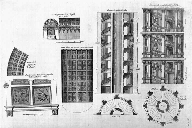 Gravure : Coupe et élévation du grand escalier, développement des voûtes de la chapelle de la Reine
