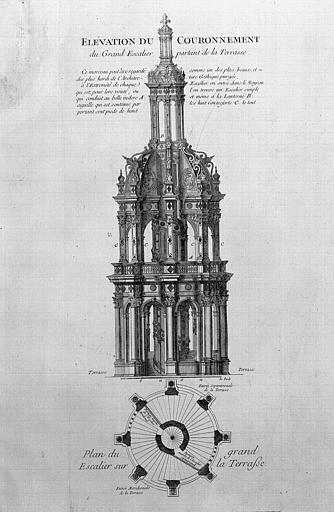 Gravure : Elévation et plan du couronnement du grand escalier partant de la terrasse