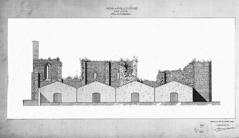 Dessin à la plume de la façade sud (état actuel)