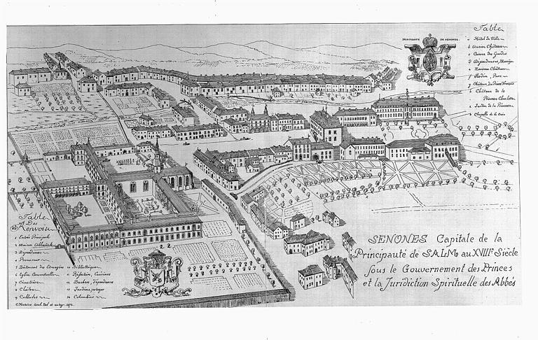 Dessin : Vue cavalière de la ville au 18e siècle