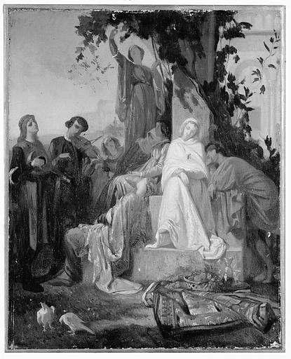 Peinture à l'huile sur toile : Le Repos du Dimanche (étude pour le tableau du Salon de 1855)