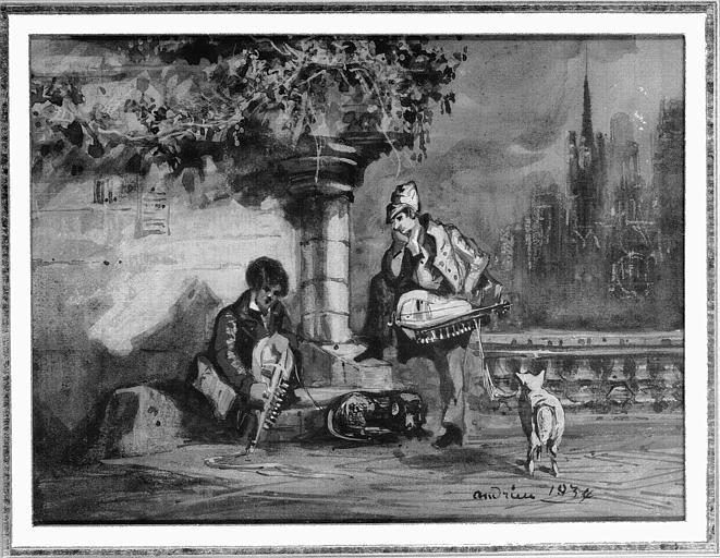 Peinture à l'aquarelle : Deux jeunes veilleurs dans un paysage romantique