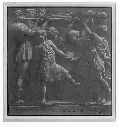 Dessin au crayon et à la craie blanche : Joueurs de trompettes (copie d'une oeuvre de Luca Della Robbia)