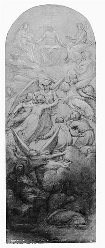 Dessin à la pierre noire et rehauts de craie blanche : La délivrance des âmes du Purgatoire (étude pour la peinture du Notre-Dame de Chantilly)