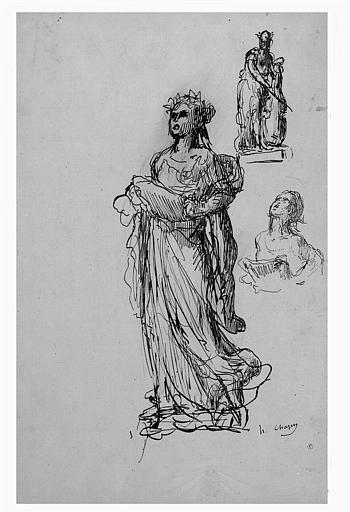 Dessins à la plume et encre brune : Deux études pour la Cantate, statue de l'Opéra, et étude de femme