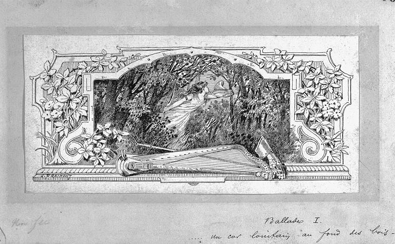 Dessin à la plume et encre noire : Projet d'illustration pour la Première Ballade de Victor Hugo