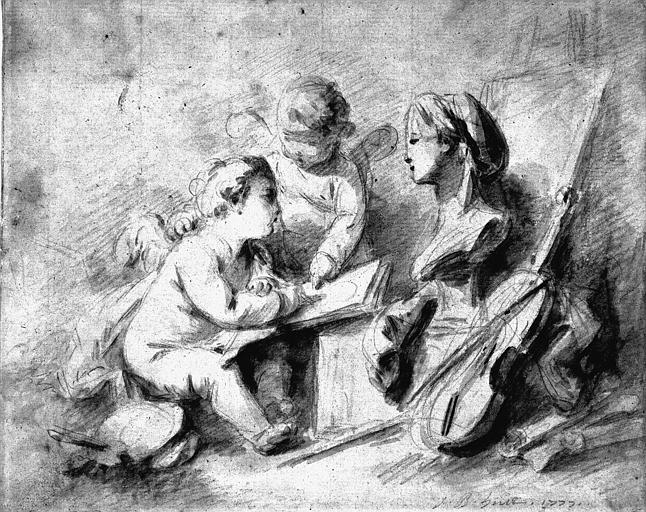 Dessin au crayon et lavis gris : Allégorie des Arts et de la Musique
