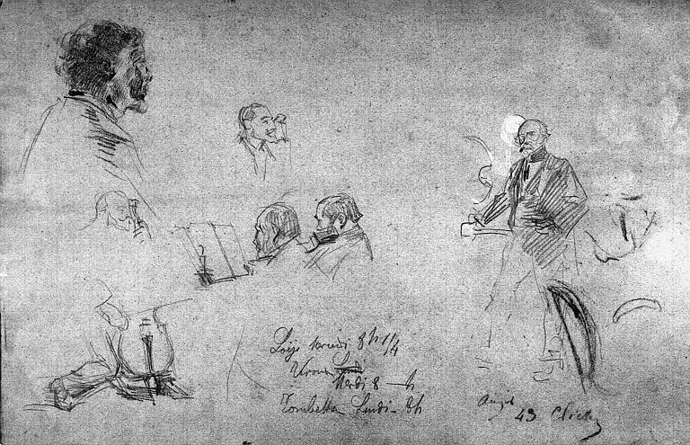 Dessin au fusain : Divers croquis (verso du dessin 'pensée pour une soirée musicale chez le peintre Amaury Duval')