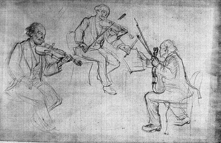 Dessin au crayon noir : Trois croquis de violonistes