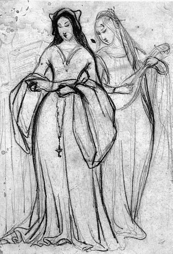 Dessin à la pierre noire : Jeunes musiciennes du Moyen-Age