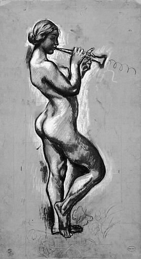 Dessin à la pierre noire et au fusain avec rehauts de gouache et craie blanche : Etude pour 'Le Parfums des Nymphes'